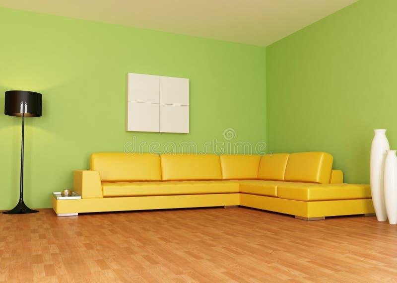 Sala de estar verde y anaranjada libre illustration