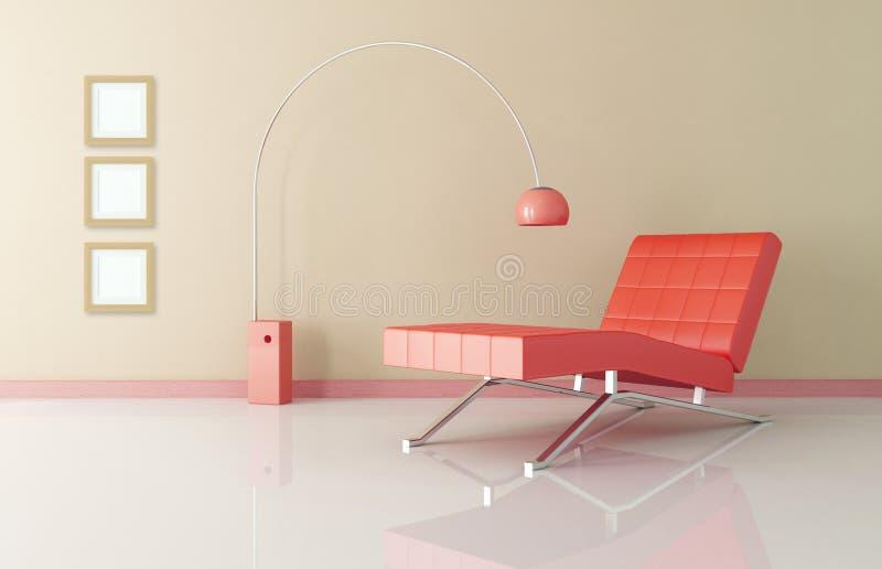 Sala de estar vermelha do chaise ilustração royalty free