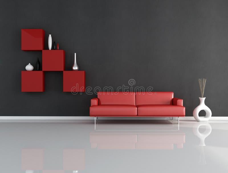 Sala de estar vermelha e preta ilustração do vetor
