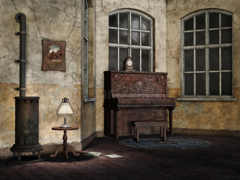 Sala de estar vieja y polvorienta stock de ilustración