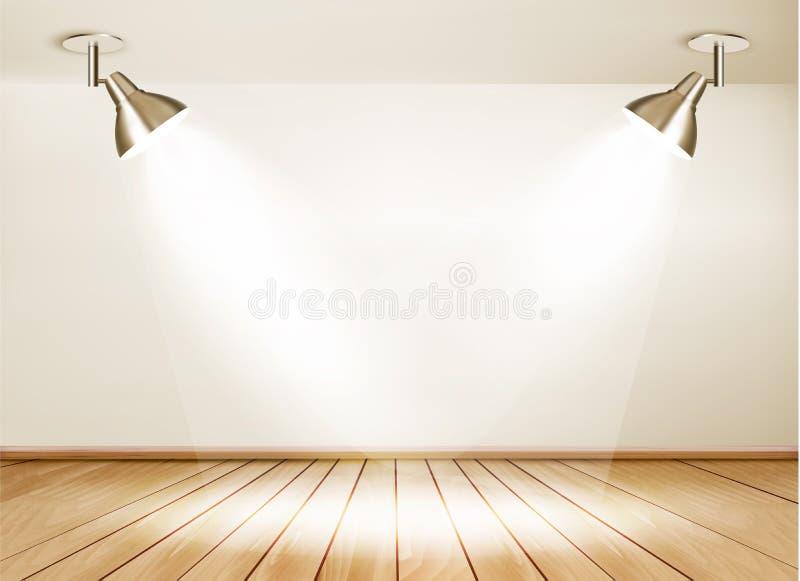 Sala de exposições com assoalho de madeira e duas luzes ilustração do vetor