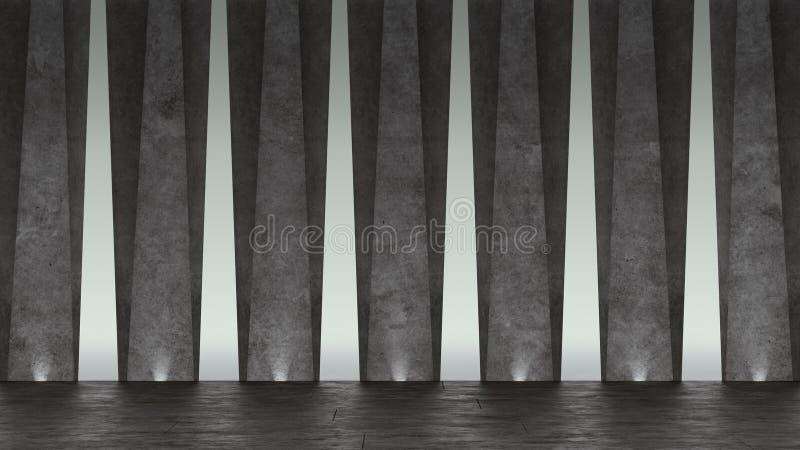 sala de exposições 3d concreta abstrata Projeto geométrico moderno Fundo branco do assoalho e da parede ilustração royalty free