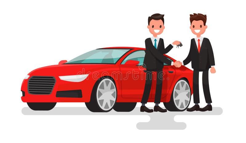 Sala de exposições do carro Venda da compra ou carro alugado O homem do vendedor cede ilustração stock