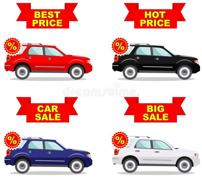 Sala de exposições do carro Venda grande Preço quente Grupo de ícones do disconto para carros Automóvel colorido da classe execut ilustração stock