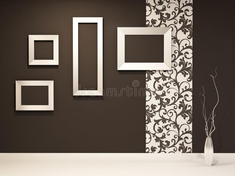 Sala de exposições. Frames vazios na parede preta ilustração stock