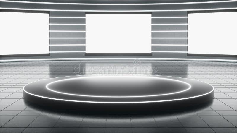 Sala de exposições tecnologico ilustração do vetor