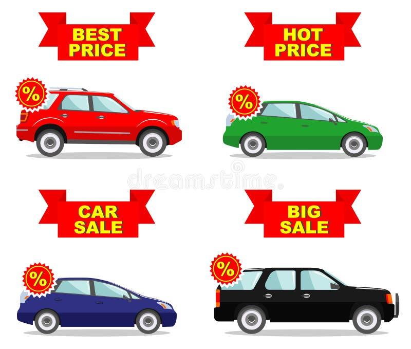 Sala de exposición del coche Venta grande Precio caliente Sistema de los iconos del descuento para los coches Automóvil coloreado libre illustration