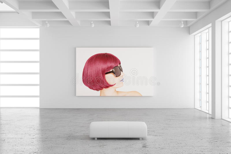 Sala de exposiciones vacía con la imagen ilustración del vector