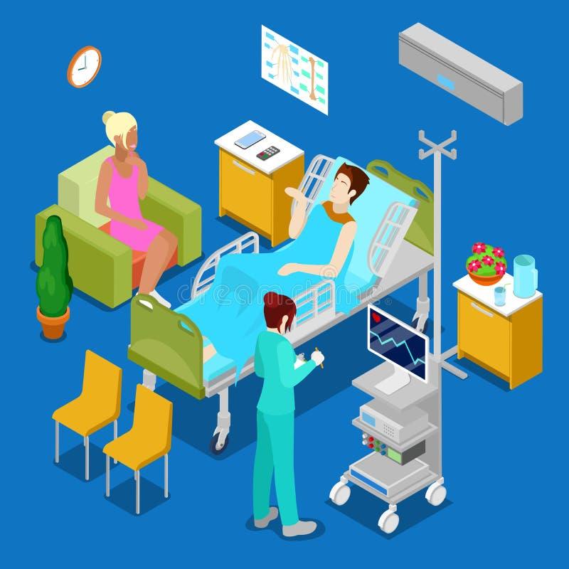 Sala de hospital isométrica com paciente e enfermeira Conceito dos cuidados médicos 3d ilustração stock