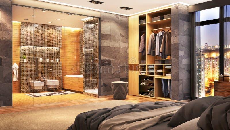 Sala de hotel de luxo com o grandes banheiro e armário imagens de stock royalty free