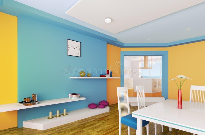 A sala de jantar azul alaranjada 3d rende ilustração do vetor