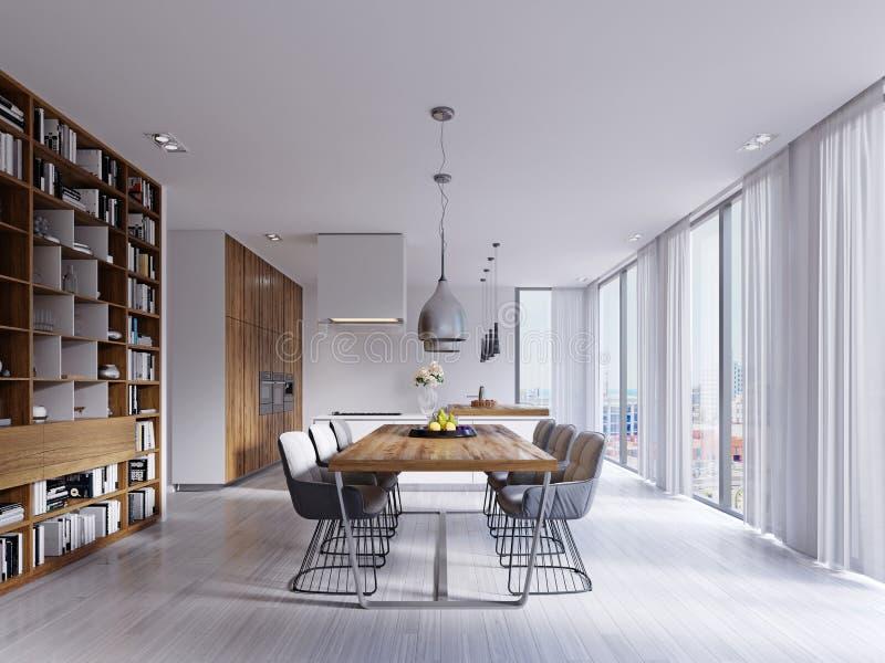 Sala de jantar branca bonita com as cadeiras de uma grande tabela e do desenhista ilustração stock