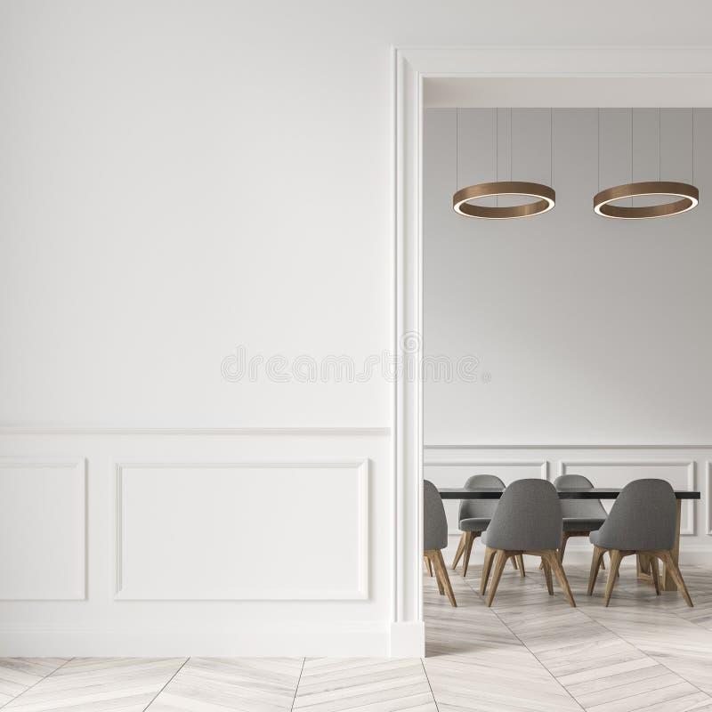Sala de jantar branca, cadeiras cinzentas, parede ilustração royalty free