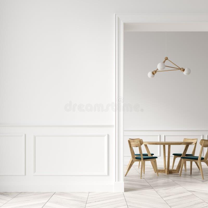 Sala de jantar branca, cadeiras de madeira, porta e parede ilustração royalty free