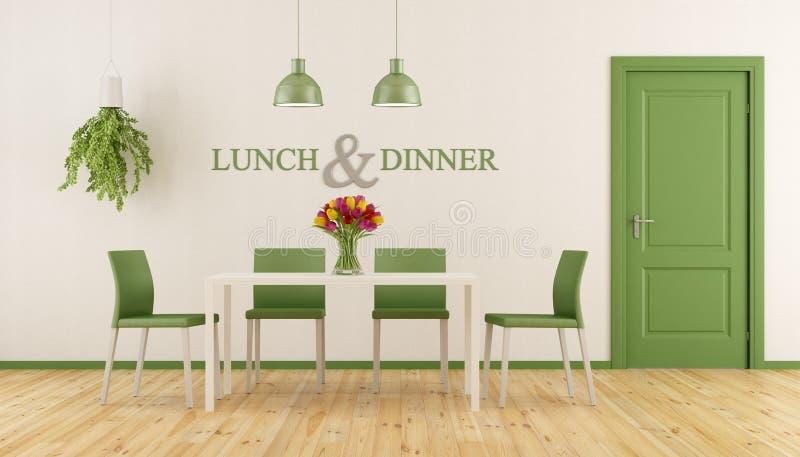 Sala de jantar branca e verde ilustração stock