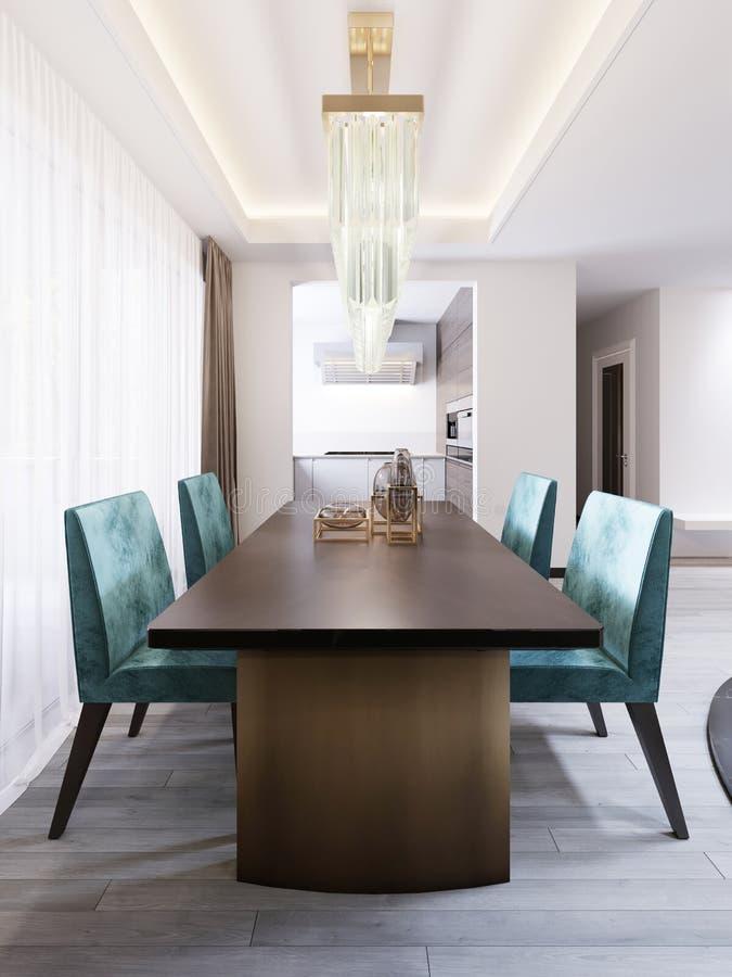 Sala de jantar brilhante no estilo contemporâneo, com mesa de jantar do desenhista e cadeiras ilustração do vetor