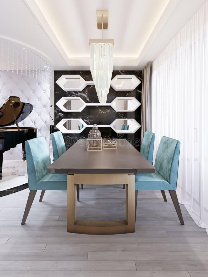 Sala de jantar brilhante no estilo contemporâneo, com mesa de jantar do desenhista e cadeiras ilustração royalty free