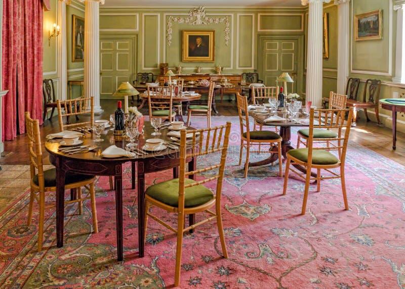 Sala de jantar, castelo do Croft, Herefordshire fotos de stock royalty free