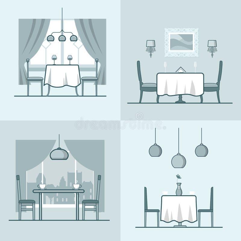 Sala de jantar co da acomodação do condomínio do café do restaurante ilustração royalty free