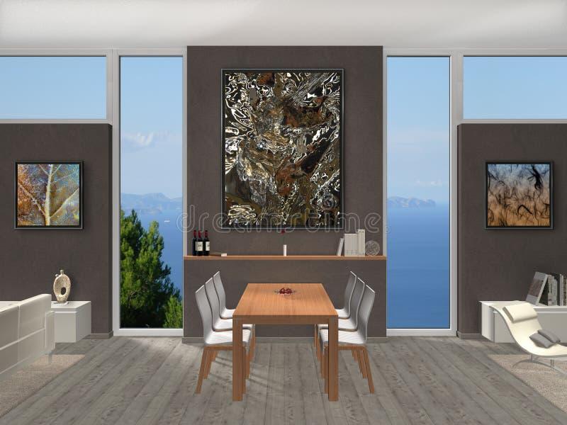 Sala de jantar com janelas e fotos ilustração royalty free