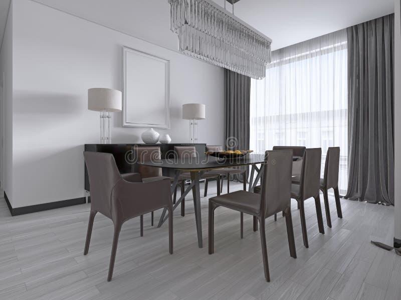 Sala de jantar contemporânea com uma grande mesa de jantar retangular com as oito cadeiras de couro marrons e um armário preto da ilustração do vetor
