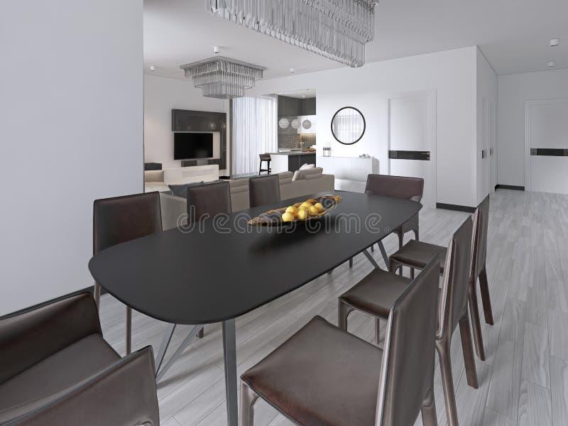 Sala de jantar contemporânea com uma grande mesa de jantar retangular com as oito cadeiras de couro marrons e um armário preto da ilustração royalty free