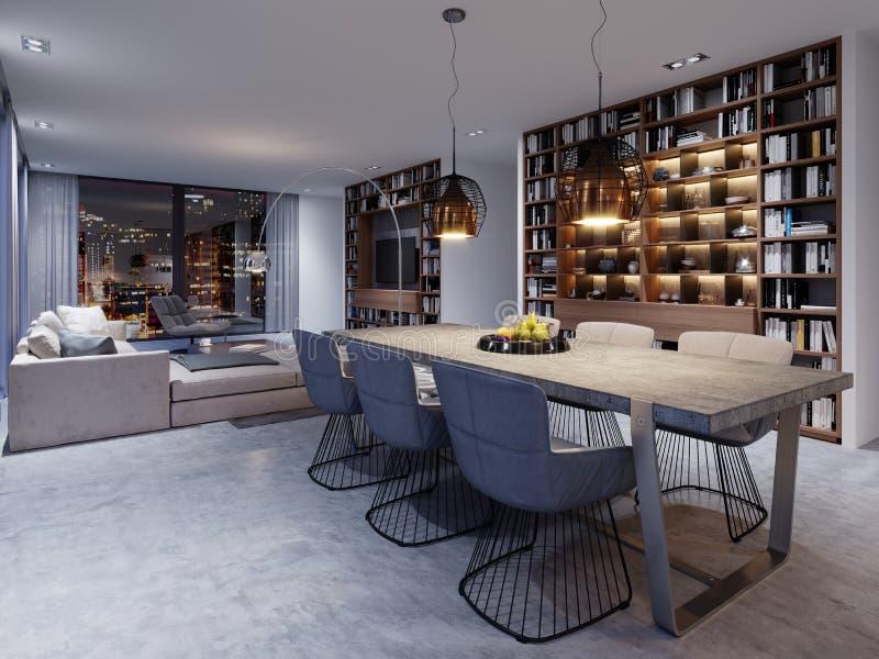 sala de jantar do Sótão-estilo com grande tabela e worktop concreto contínuo, seis cadeiras macias em um projeto criativo ilustração do vetor