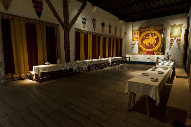 Sala de jantar dos reis do castelo de Dôvar fotos de stock