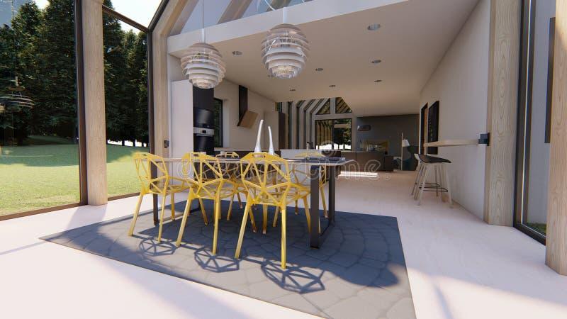 Sala de jantar e cozinha interiores modernas ilustração stock