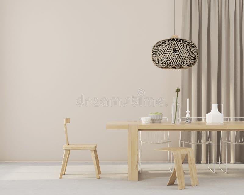 Sala de jantar de Minimalistic com mobília de madeira ilustração royalty free