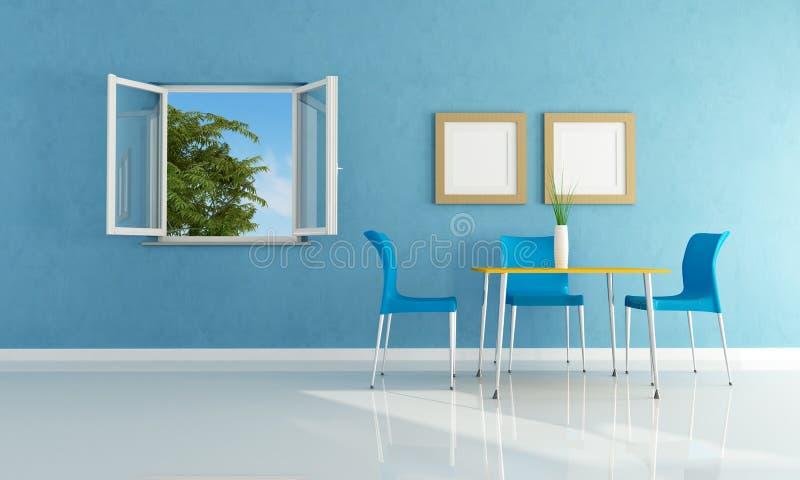 Sala de jantar moderna azul ilustração royalty free
