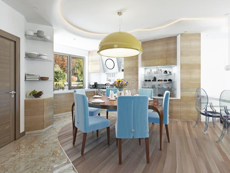 Sala de jantar moderna com cozinha em um kitsch na moda do estilo ilustração do vetor