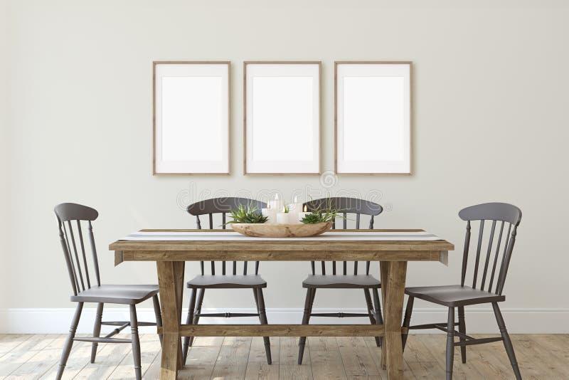 Sala de jantar moderna da casa da quinta 3d rendem ilustração do vetor