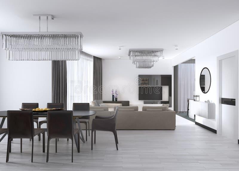 Sala de jantar moderna luxuoso com uma grande tabela e umas cadeiras amortecidas e um candelabro de cristal sobre ilustração do vetor