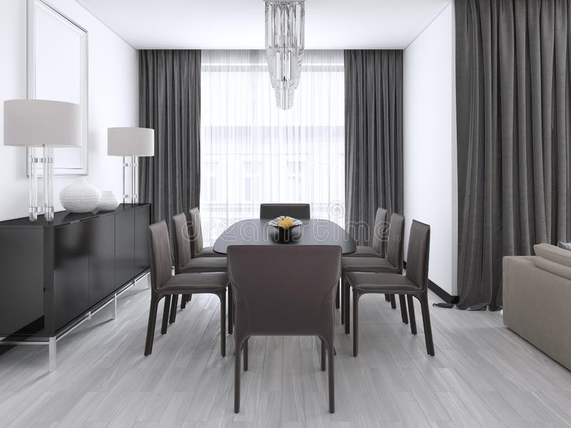 Sala de jantar moderna luxuoso com uma grande tabela e umas cadeiras amortecidas e um candelabro de cristal sobre ilustração stock