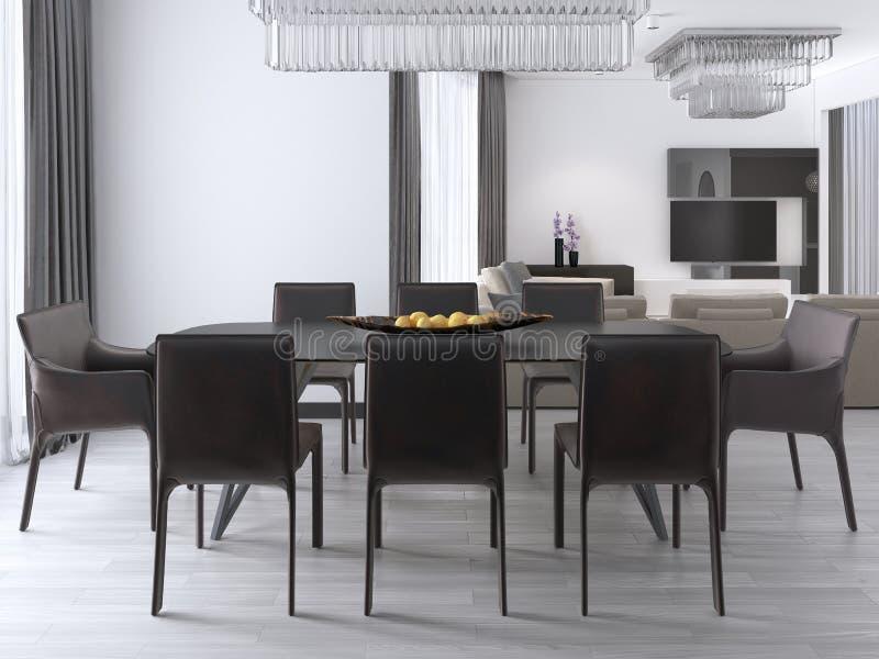Sala de jantar moderna luxuoso com uma grande tabela e umas cadeiras amortecidas e um candelabro de cristal sobre ilustração royalty free
