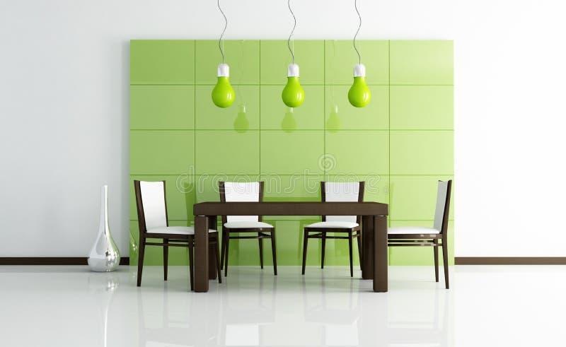 Sala de jantar moderna verde com tabela de madeira