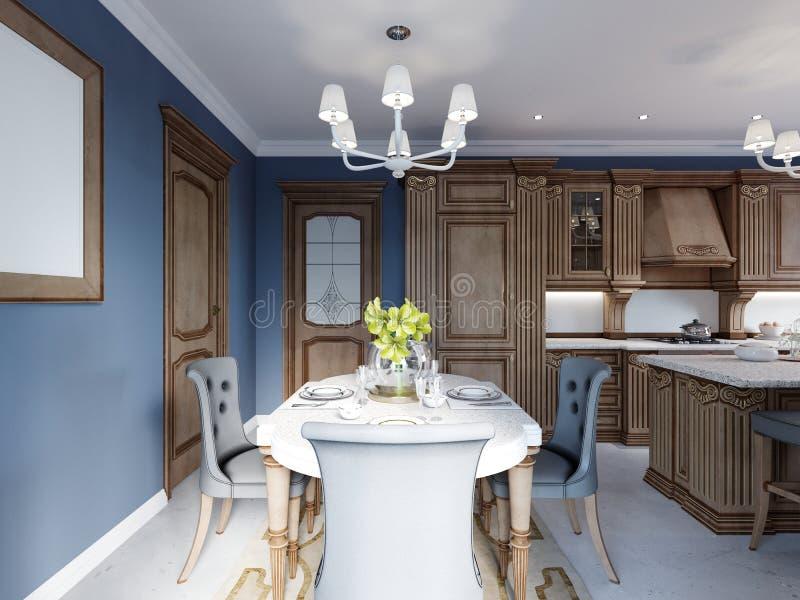Sala de jantar no estilo clássico e luxuoso, com jantar da tabela servida com elementos decorativos, quatro cadeiras estofadas, d ilustração stock