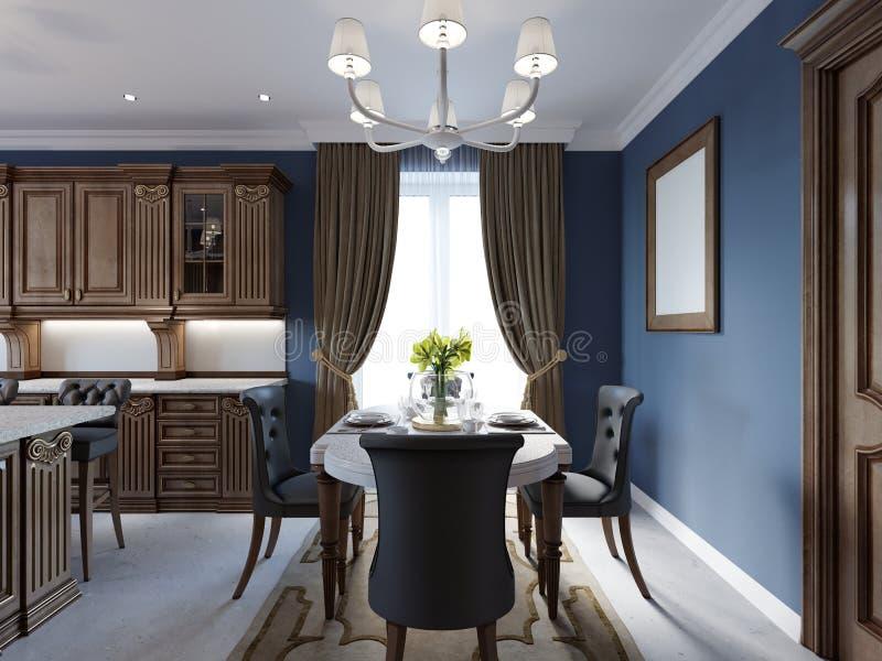 Sala de jantar no estilo clássico e luxuoso, com jantar da tabela servida com elementos decorativos, quatro cadeiras estofadas, d ilustração royalty free