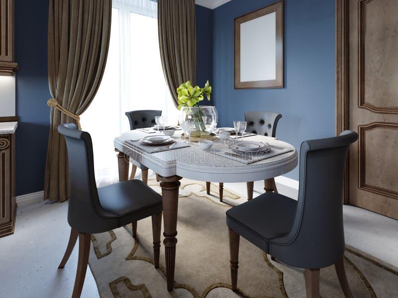 Sala de jantar no estilo clássico e luxuoso, com jantar da tabela servida com elementos decorativos, quatro cadeiras estofadas, d ilustração do vetor