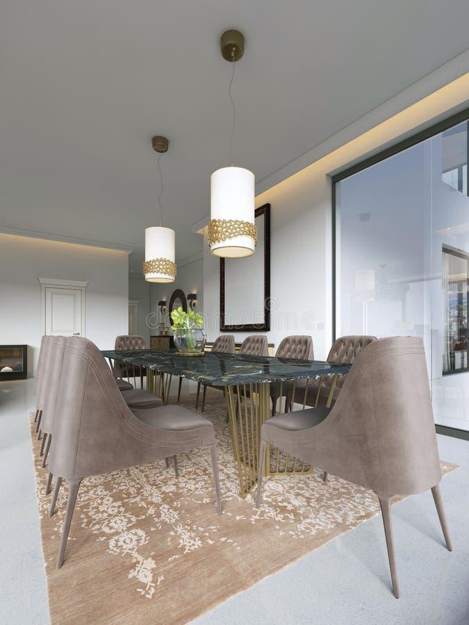 Sala de jantar no estilo clássico e luxuoso, com uma tabela servida de jantar de madeira retangular com os elementos decorativos, ilustração do vetor