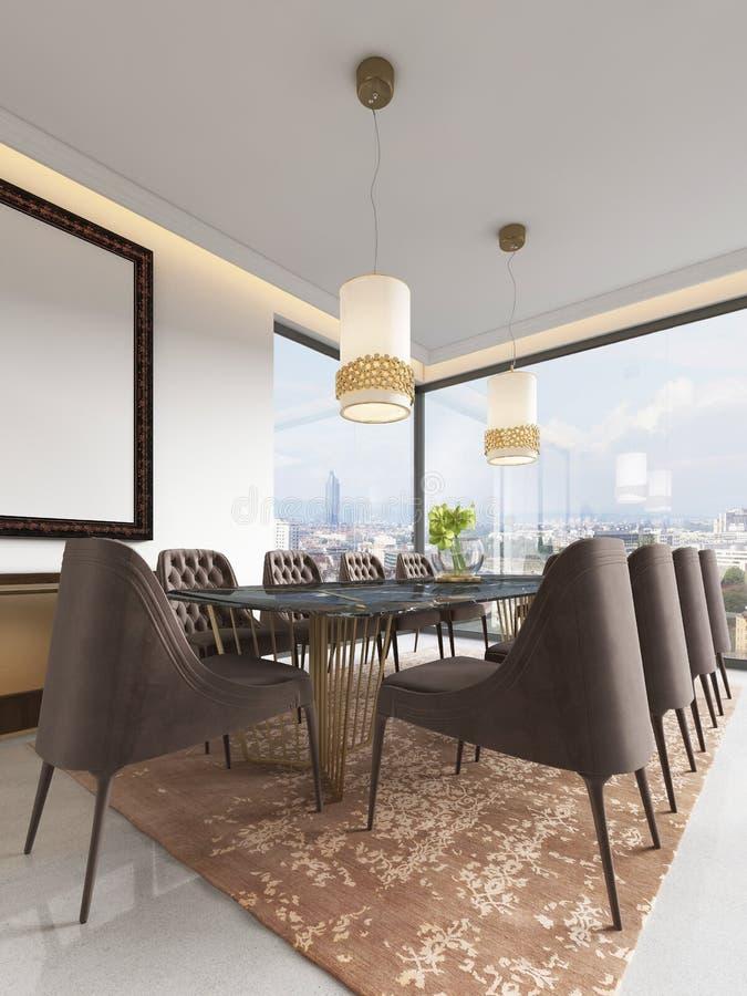 Sala de jantar no estilo clássico e luxuoso, com uma tabela servida de jantar de madeira retangular com os elementos decorativos, ilustração stock