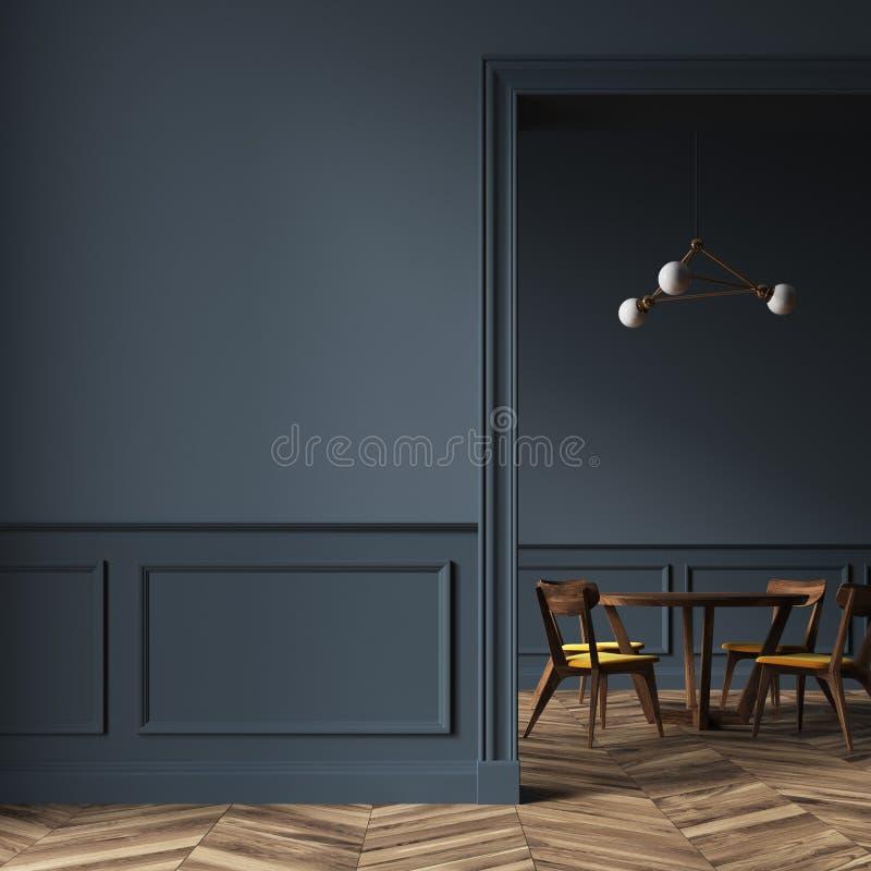 Sala de jantar preta, cadeiras de madeira, porta e parede ilustração stock