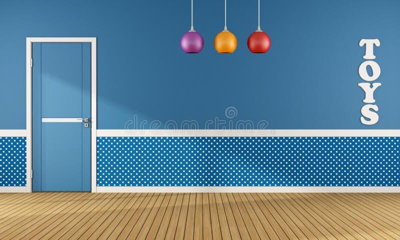 Sala de juegos azul con a puerta cerrada libre illustration