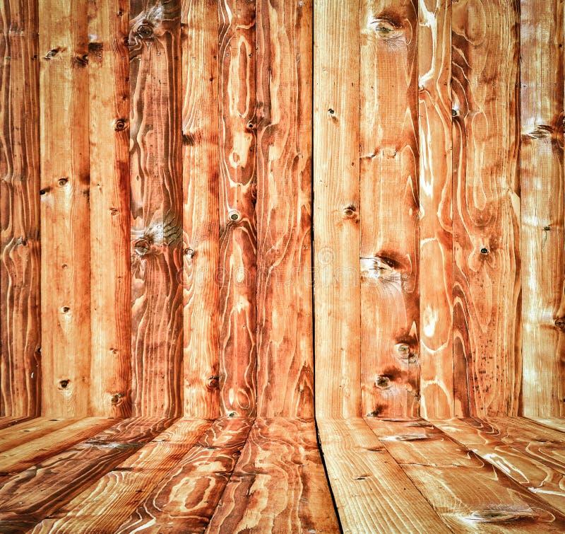 sala de madeira com fundo do painel e do assoalho imagens de stock