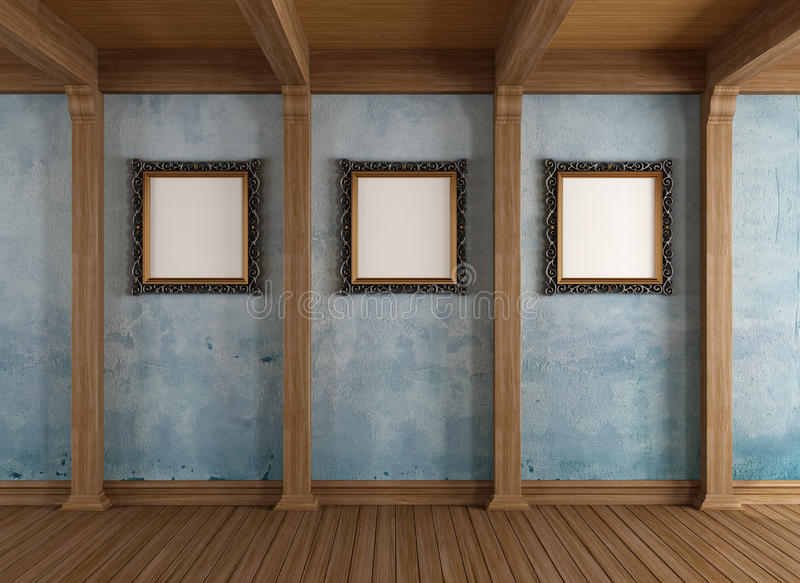 Sala de madeira velha com quadro clássico ilustração do vetor
