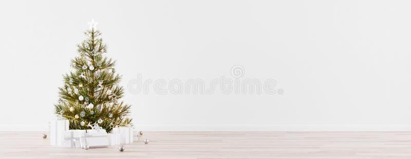Sala de Navidad vacía con árbol de abeto, regalos y espacio de paredes blancas 3d Render libre illustration