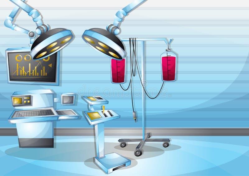 Sala de operação interior da cirurgia da ilustração do vetor dos desenhos animados com camadas separadas ilustração do vetor