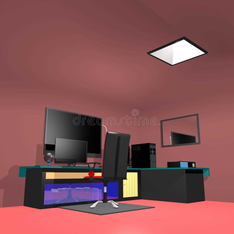 Sala de ordenadores con 2 3 monitores libre illustration