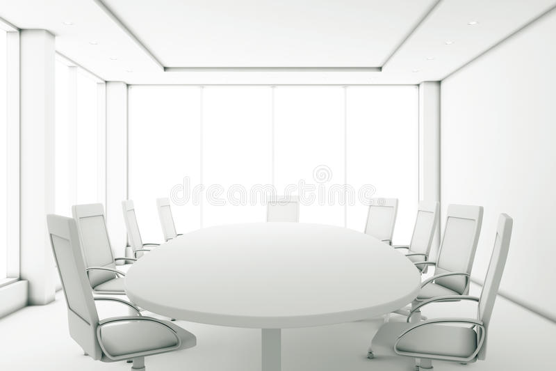 Sala de reunião completamente branca com uma mesa redonda e um grande windo ilustração do vetor